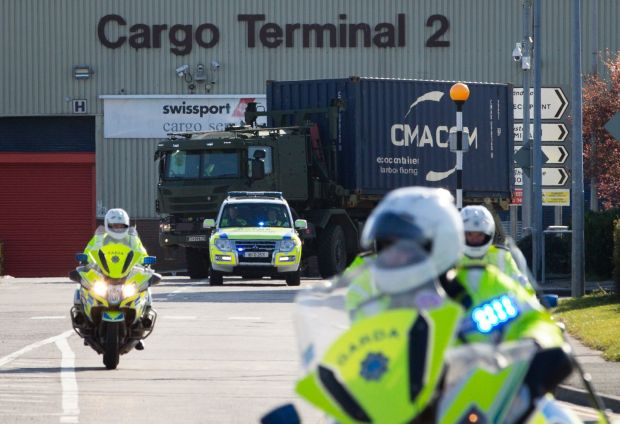 Army Vehicles pictured leaving Dublin on March 29th following the arrival of a consignment of PPE. Photograph: Tom Honan/The Irish Times Boxes of PPE are unloaded at Dublin Airport on March 29th. Photograph: Tom HonanThe Irish Times