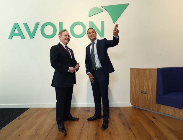 An Taoiseach Leo Varadkar and Dómhnal Slattery, CEO of Avolon. Photograph: Robbie Reynolds