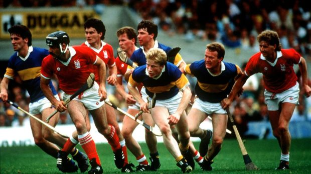 Action from the Munster Hurling Final between Tipperary and Cork at Semple Stadium on July 12th, 1987.Photograph: Billy Stickland/Inpho