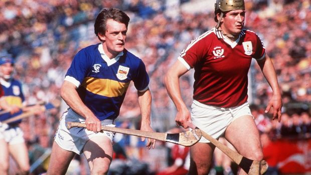 Tipperary's Nicky English in action against Conor Hayes of Galway during the 1988 All-Ireland Hurling Final at Croke Park. Photograph: Billy Stickland/Inpho