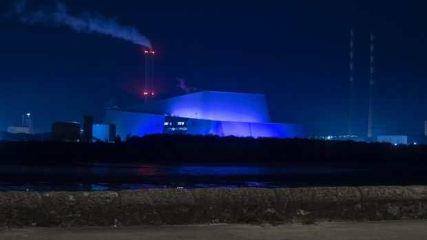 The Dublin Waste to Energy incinerator in Poolbeg is also to be lit up blue every evening from Saturday, in a tribute to all workers on the frontline of the effort against the coronavirus pandemic. Photograph: Chris Bellew /Fennell Photography