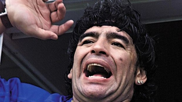 Diego Maradona celebrates Boca Juniors win over San Lorenzo at La Bombonera in Buenos Aires on December 3rd, 2000. Photograph: Fabian Gredillas/AFP via Getty Images