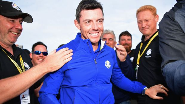 Rory McIlroy celebrates after Europe's Ryder Cup win in 2018. Photograph: Stuart Franklin/Getty