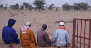 The chieftains face Mecca – and the Great Green Wall. Photograph: Boubacar Badji