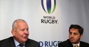 Chairman of World Rugby, Bill Beaumont with vice-chairman Agustin Pichot. Photo: Brian Lawless/PA Wire