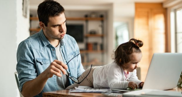 Organisational leaders will need to be cognisant that some staff may have had to coax a toddler from their knee before joining a meeting via video conference. Photograph: iStock