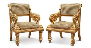 Lot 141 at Sotheby's New York sale is a pair of Irish William IV chairs $6,000-$10,000