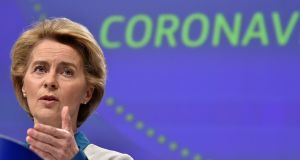 "President of European Commission Ursula von der Leyen: next European budget must be ""the European answer to the corona crisis"". Photograph: John Thys"