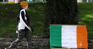 A message of thanks to healthcare workers on a tricolour left outside Naas General Hospital. Photograph: Brian Lawless/PA