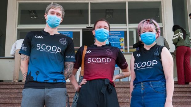 Wexford woman Christine Redmond (far right) with two friends from the Cairde Khmer GAA Football Club after giving blood in Phnom Penh earlier this month. Photograph: Christine Redmond