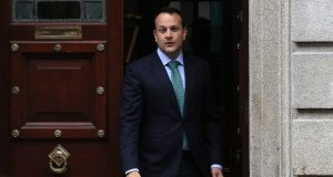 Taoiseach Leo Varadkar leaves the GPO in Dublin's city centre following the annual 1916 Easter commemoration on Sunday. Photograph: Brian Lawless/PA Wire