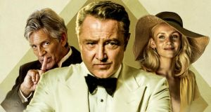 Eric Roberts, Michael Flatley and Nicole Evans in the poster for Blackbird, in which Flatley stars as a Bond-style secret agent. Only a privileged few have seen the movie – perhaps they're holding it back for Cannes?