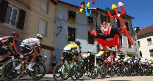Didi 'The Devil' Senft jumps in the air during stage 16 of the 2016  Tour de France, from Moirans-en-Montagne to Berne in Switzerland. Photograph: Michael Steele/Getty Images