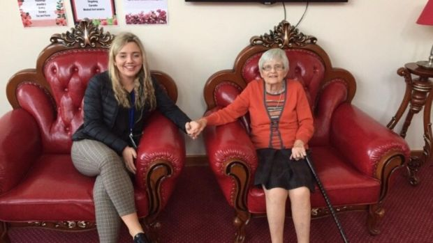 Hannah O'Reilly with her grandmother Anne Lahart: 'After my nanny passed away, we stood two metres apart, not allowed to hug or share tissues for our tears'