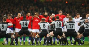 The French team face up to New Zealand as the latter perform the Haka before the dramatic World Cup quarter-final at the Millennium Stadium in Cardiff. Photograph: Stu Forster/Getty Images