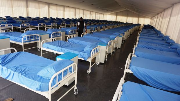 A Covid-19 coronavirus isolation centre at the Sani Abacha stadium in Kano, Nigeria. The centre is being built with donations from Kano-born Aliko Dangote, a Nigerian businessman and philanthropist and Africa's richest man. File photograph: Getty Images