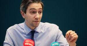 Minister for Health Simon Harris during a press conference at the Department of Health in Dublin. Photograph: Brian Lawless/PA Wire.