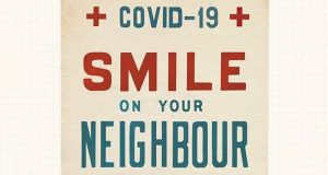 Covid-19: Smile on your neighbour, one of Annie Atkins's public-service posters. Photograph: Annie Atkins/Instagram