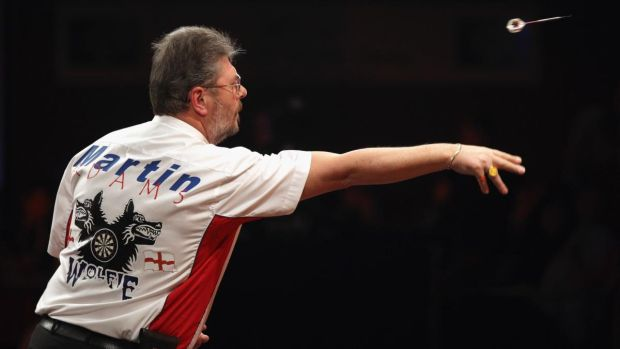Martin 'Wolfie' Adams has been competing in the Icons of Darts series, where players play against each other from their own houses. Photograph: Oli Scarff/Getty Images