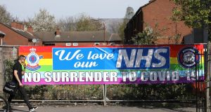 A banner supporting the NHS on display in south Belfast. Restrictions put in place to stop the spread of coronavirus have been supported overwhelmingly across the whole of Ireland. Photograph: Peter Morrison/PA Wire