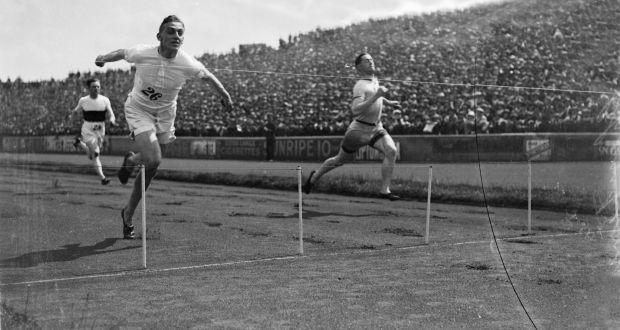 Harold Abrahams wins the 100 yards at the 1924 AAA Championships at Stamford Bridge. Photograph: Central Press/Getty Images