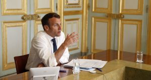 "Emmanuel Macron: ""We are at a moment of truth, which is to decide whether the European Union is a political project or just a market project."" Photograph: Yoan Valat/EPA"