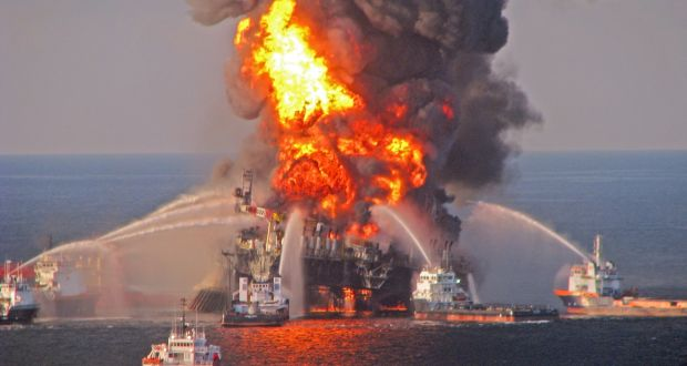 Tackling the blaze on the oil rig Deepwater Horizon.