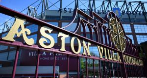 The gates of Aston Villa football club's stadium, Villa Park are pictured. Photo: Paul Ellis/AFP via Getty Images