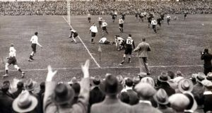 Action from South Africa v Australia at Newlands in July 1933, the tour on which Aubrey Hodgson made his Wallabies debut. File photograph: Getty Images