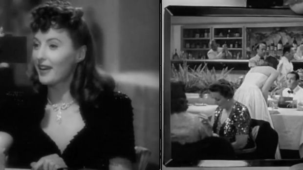 The Lady Eve: con artist Jean Harrington (Barbara Stanwyck) uses a hand mirror to spy on a man in a restaurant.