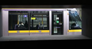 Social distancing on the Luas amid the Covid-19 crisis. File photograph: Nick Bradshaw/The Irish Times