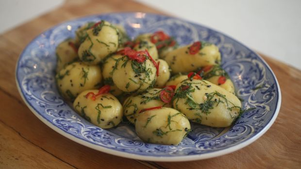 Green and perky spuds. Photograph: Nick Bradshaw
