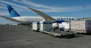 A United Airlines aircraft being loaded with cargo. The US airline has launched a cargo service between Dublin and Washington DC, operating three times a week