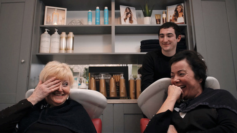 Chrissie, Ann and Tim in Abbeyfealegood, which makes you think hairdressers should have been deemed essential services