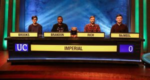 Dubliner Conor McMeel as part of the team from Imperial College, London that won University Challenge. Photograph: BBC