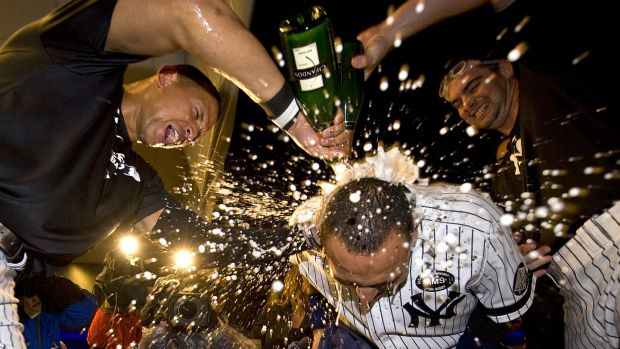 A photograph taken by Anthony J Causi after the New York Yankees defeated the Twins in 2009. Causi died from Covid-19 on Easter Sunday. Photograph: Anthony J Causi/Icon SMI/Icon Sport Media via Getty Images