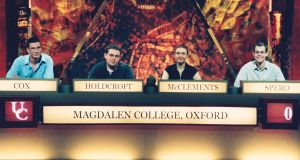University Challenge winners: Freya McClements with her Magdalen College team-mates Dave Cox, Matt Holdcroft and Josh Spero. Photograph: BBC