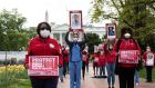 Nurses protest over the lack of personal protection equipment amid the Covid-19 pandemic in front of the White House in Washington, DC, on Tuesday. Photograph: Nicholas Kamm/AFP via Getty Images