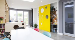Home office designed by architect Alan Burns. 'A degree of separation will help to provide acoustic separation from the cacophony of family life,' he says.