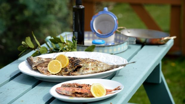 Barbecued fish with sauce vierge and grandma's Egyptian dressing. Photograph: Dara Mac Dónaill/The Irish Times