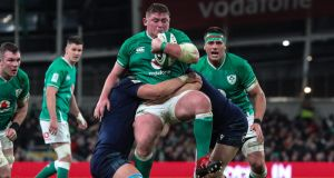 Tadhg Furlong in action against Scotland during the Six Nations game against Scotland at the Aviva Stadium on February 1st. Photograph: Billy Stickland/Inpho