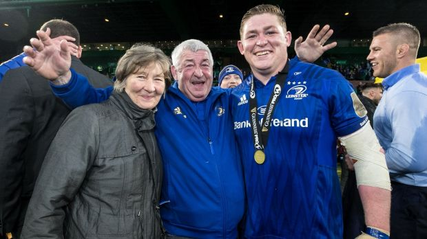 Tadhg Furlong celebrates with his parents Margaret and James after Leinster's win over Glasgow Warriors in the 2019 Guinness Pro 14 Final at Celtic Park. Photograph: Billy Stickland/Inpho