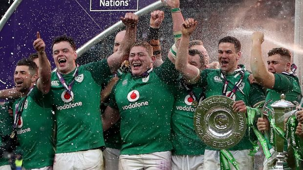 Tadhg Furlong celebrates Ireland's Grand Slam victory after the win over England at Twickenham on St Patrick's Day in 2018. Photograph: Bryan Keane/Inpho
