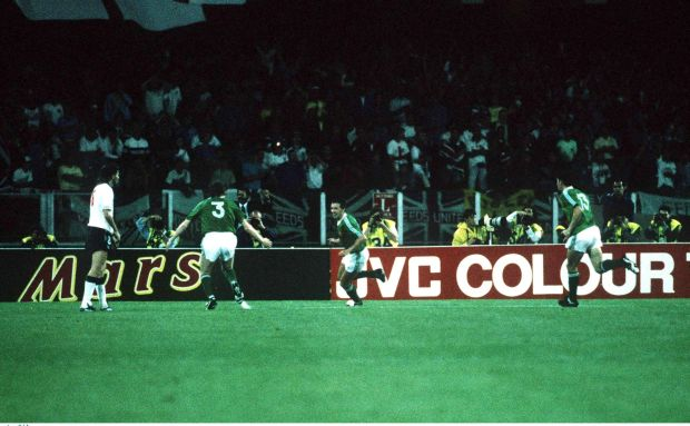 Republic of Ireland's Kevin Sheedy, celebrates scoring a goal against England with team-mates Steve Staunton and Andy Townsend in June 1990. Photograph: Ray McManus/Sportsfile
