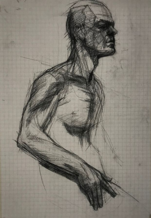 Una Sealy, Life study, charcoal on paper.