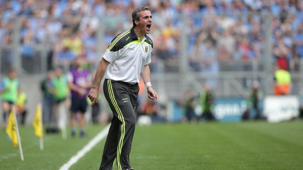 Jim McGuinness on the sideline during the 2014 All-Ireland semi-final between Donegal and Dublin at Croke Park. Photograph: Morgan Treacy/Inpho
