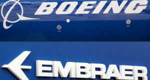 The Boeing and  Embraer logos.  The collapse of the deal will  be seen as a blow to Boeing, which had moved to broaden its portfolio of aircraft to compete with European rival Airbus. Photograph: Getty Images