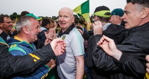Donegal's manager Declan Bonner celebrates after the Ulster Final victory over Cavan in Clones last summer. Photograph: Tommy Dickson/Inpho