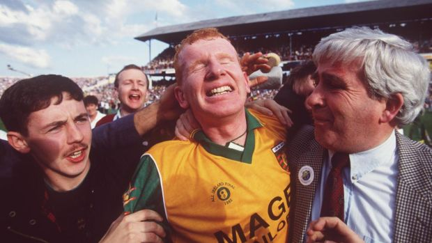 Declan Bonner celebrates Donegal's victory over Dublin in the 1992 All-Ireland Final. Photograph: Billy Stickland/Inpho