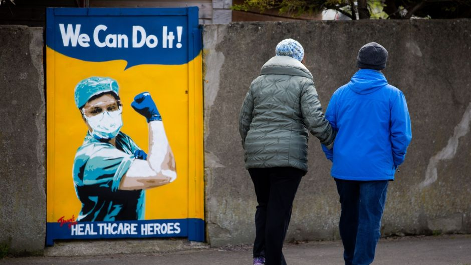 A mural by Irish artist Emma Blake in Kilnamanagh, Dublin: women are so rarely written about in these global events, much less so when their work is behind the scenes. Photograph: Tom Honan